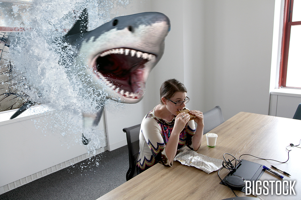 Grete was enjoying her lunch break. She was just about to take a bite out of a sandwich, when the Sharknado took a bite out of her.