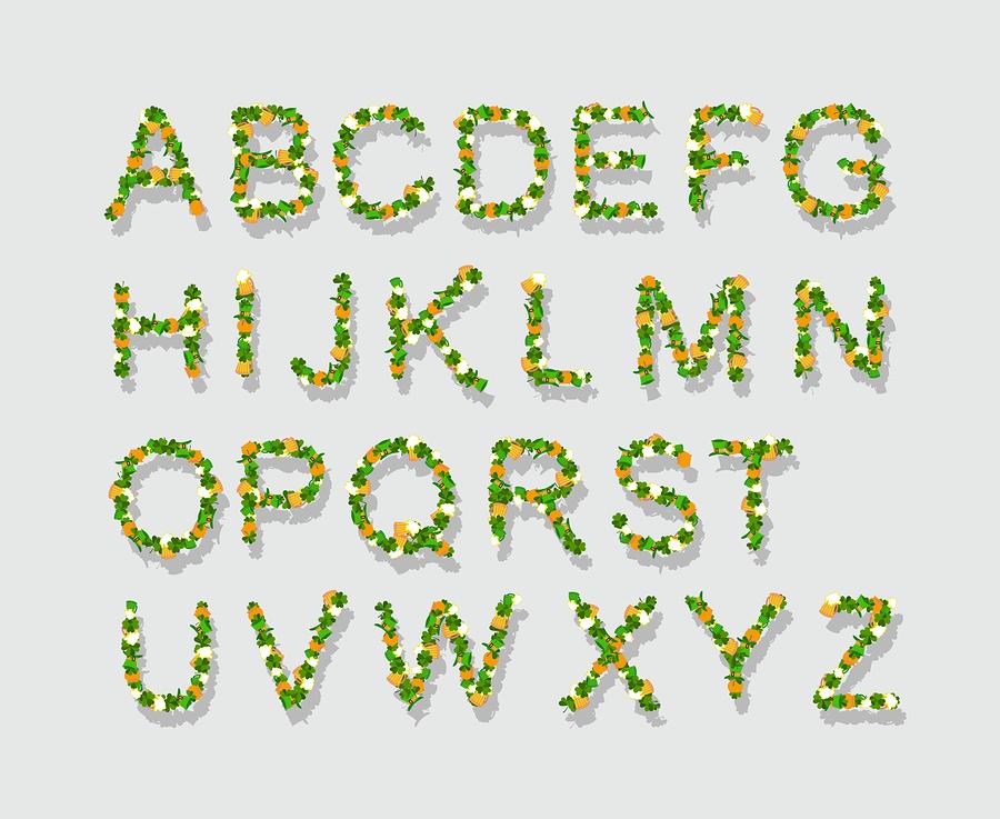 Green leaves font |  popaukropa