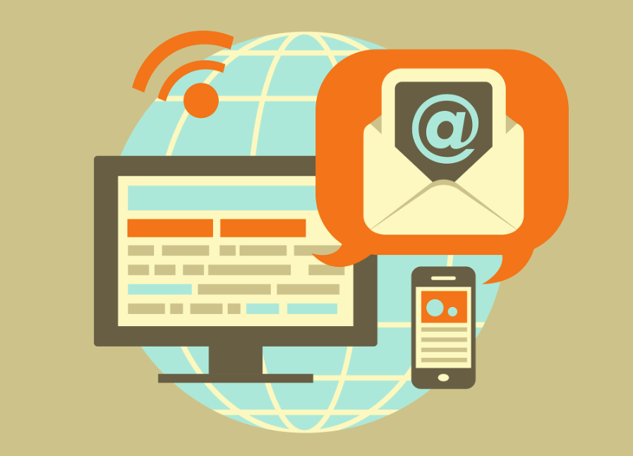 Flat design concept of emails and newsletters.