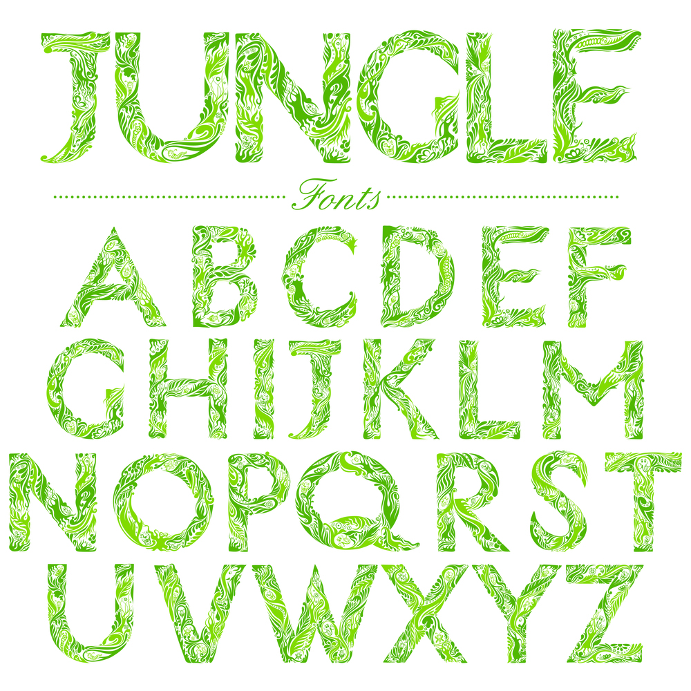 Illustrated fonts in jungle-style swirl |  vectomart