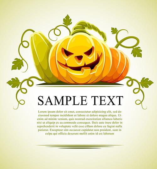 halloween pumpkin vegetables with green leaves