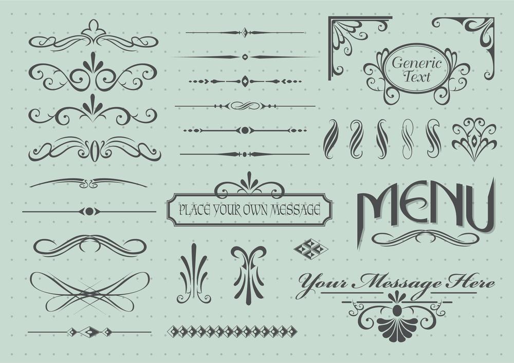 Calligraphic design elements for dining menus    GraphicStore