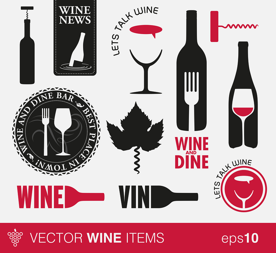 Wine icons and labels    Twin design