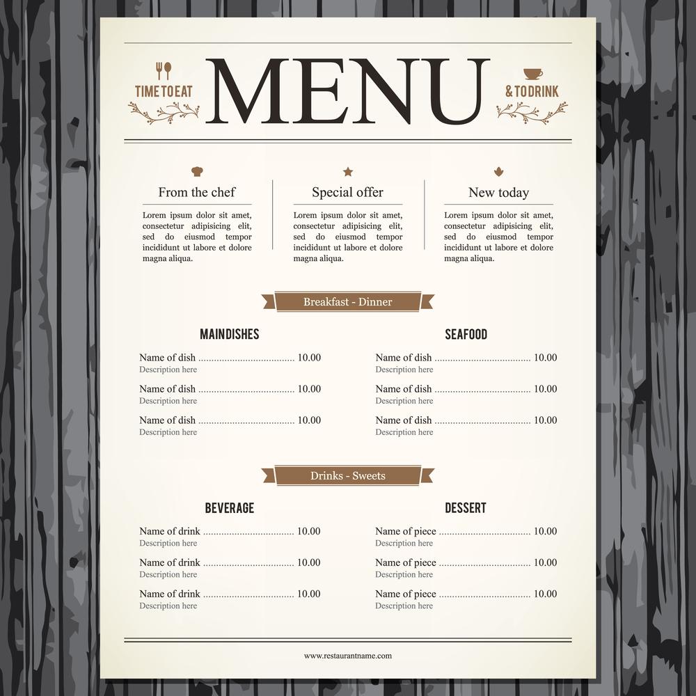 Illustration of restaurant menu design    L.M.V