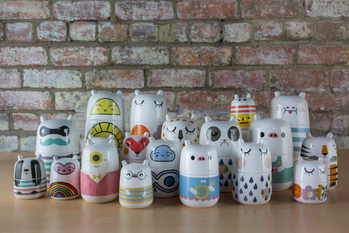 Photo of Prada's collection of ceramic tableware characters.