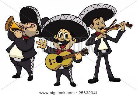 Vectores y fotos en stock de Tres dibujos animados mariachis, todo ...